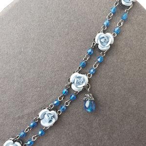 Blue Flower Beaded Choker Necklace